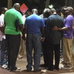 Local pastors have gathered together outside the Courtyard Marriott down the street from the church. Photo credit Liz Kreutz via Twitter.