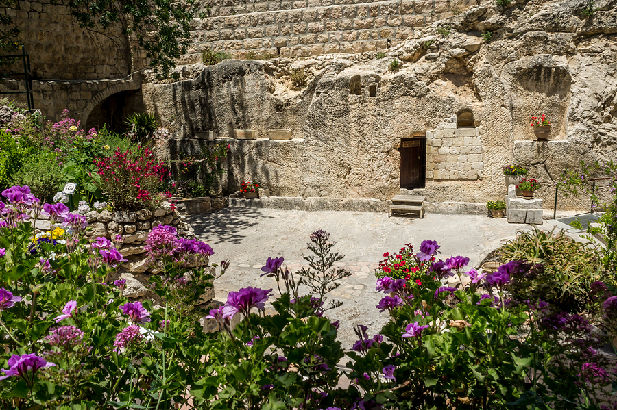The Garden Tomb outside the walls of the Old City of Jerusalem Israel.